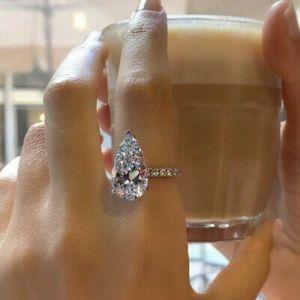 925 Silver Simulated Diamonds Teardrop Ring